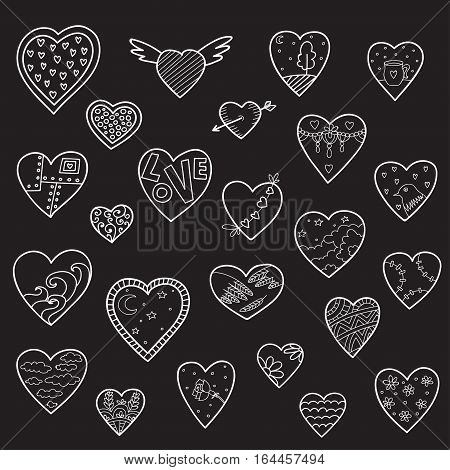 Set of vector sketch hearts isolated on black