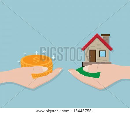 Hand with Gold Coin and Home Real Estate For Exchange Business Concept Vector Illustration