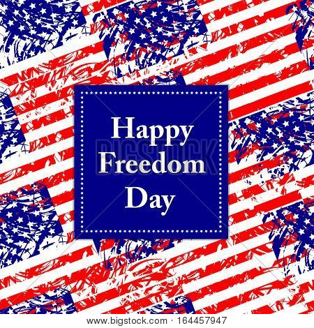 Happy Freedom Day - USA. Colorful background from american flags