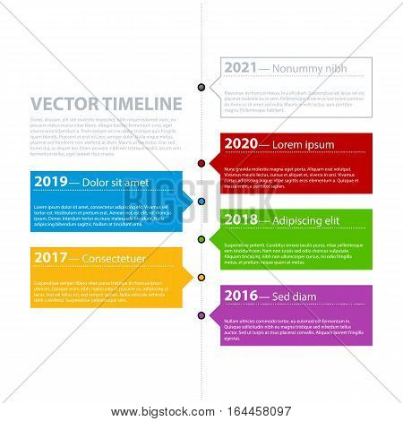 Vector Timeline Template With Colorful Tabs. Useful Presentations And Advertising.