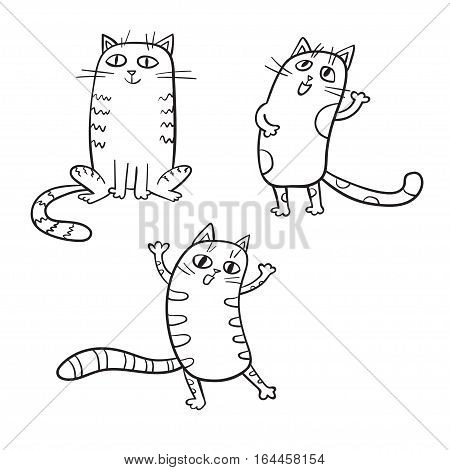 Vector set of cute cartoon cats in various poses isolated on white. Sketches style.