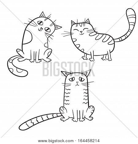 Vector set of cute cartoon cat in various poses isolated on white. Sketches style.