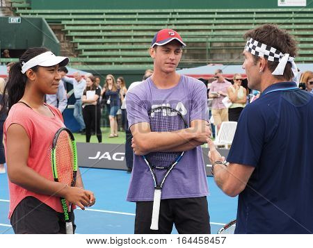 Melbourne Australia - January 9 2017: Destanee Aiava Andrew Whittington and Pat Cash at the opening of the Kooyong Classic Exhibition tournament