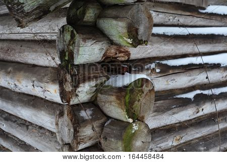 Blockhouse Russian traditional old wooden house from logs. Traditional Russian architecture. Winter house. Novgorod region. Valdai. Russia.