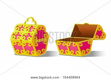Pink Chest set for game interface.Vector illustration. Treasure on white background closed, empty.