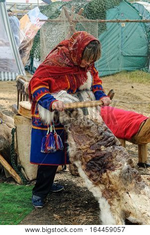Tyumen, Russia - June 24, 2016: The 5th open championship of Russia on a plowed land. Nenets woman processes cervine skin in cultural center of North people. Nenets - aboriginals of Russian North