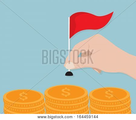 Human Hand Putting Red Flag on Stack of Gold Coin Vector Illustration