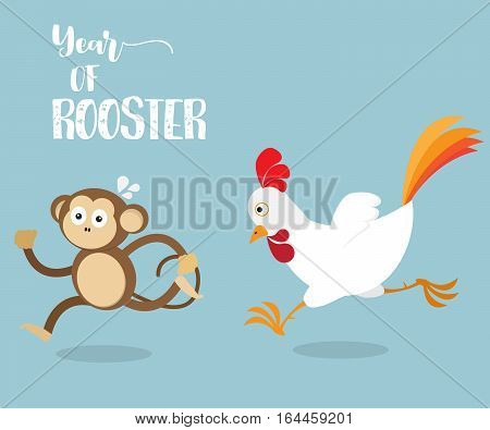 Rooster Running with Monkey Change From Year of Monkey to Rooster Cartoon Vector Illustration