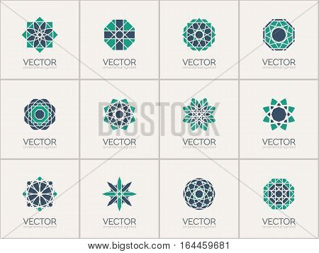 Geometric logo template set. Vector mosaic arabic ornamental symbols