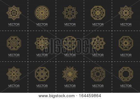 Geometric linear logo template set. Vector circular arabic ornamental symbols