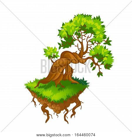 Isometric tree.Vector illustration.Isolated on a white background.Game icon.Design for app user interface and score display.Cartoon nature landscape element.