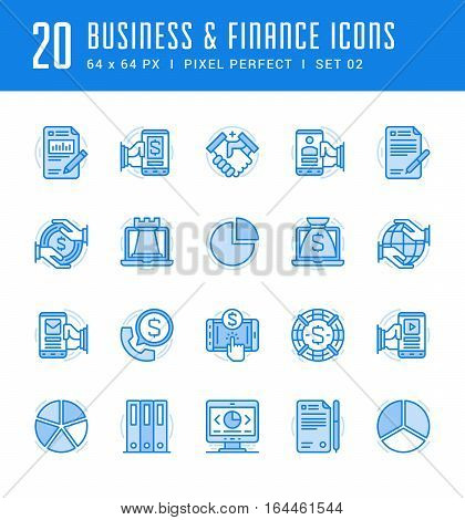 Line icons set. Flat thin linear stroke vector Business and Finance concepts. For website graphics, Mobile Apps, Infographics. Pictogram pack. Easy resize to 128, 256, 512 pixels, easy edit colors.
