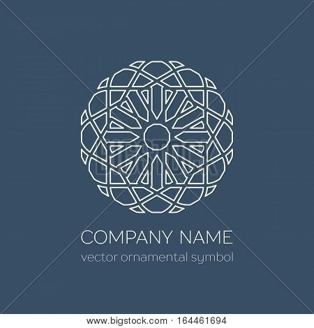 Geometric logo template. Vector linear arabic ornamental symbol