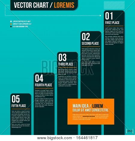 Vector Chart On Turquoise Background. Useful For Presentations And Advertising.