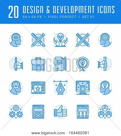 Line icons set. Flat thin linear stroke vector Design and Development concepts. For website graphics, Mobile Apps, Infographics. Pictogram pack. Easy resize to 128, 256, 512 pixels, easy edit colors.
