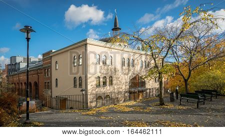 Stockholm, Sweden - October 28, 2016: Zayed bin Sultan Al Nahyan's Mosque, commonly known as the Stockholm Mosque is the largest mosque in Stockholm