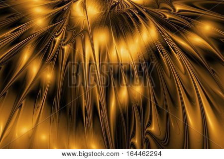 Abstract Rippled Glossy Texture In Golden And Black Colors. Fantasy Fractal Background. Digital Art.