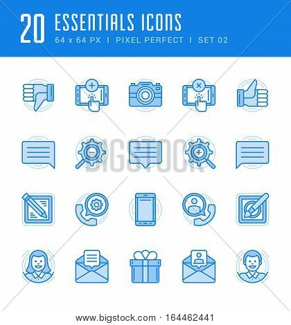 Line icons set. Flat thin linear stroke vector Essentials objects concepts. For website graphics, Mobile Apps, Infographics. Pictogram pack. Easy resize to 128, 256, 512 pixels, easy edit colors.