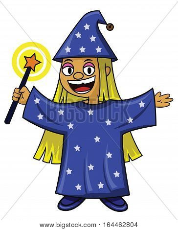 Mindy the little wizard with magic wand cartoon character. Vector illustration.