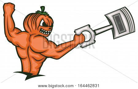 Strong Muscular Pumpkin Monster Holding Big Piston Cartoon Character.