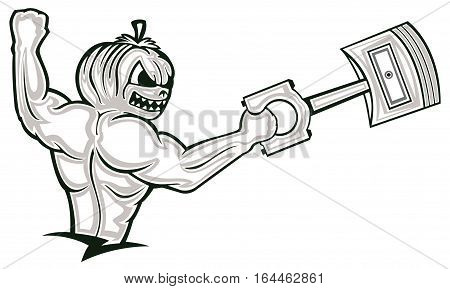 Strong Muscular Pumpkin Monster Holding Big Piston Cartoon Character. Black and White Illustration.