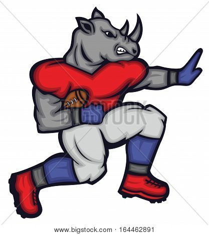 Rhinoceros Gridiron Quarterback Football Player Mascot Cartoon Character.