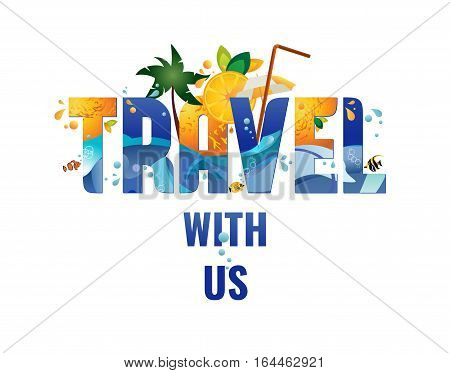 Travel with us - banner tropical vacation concept vector template illustration