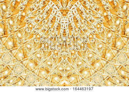 Abstract Intricate Mosaic Ornament. Fantasy Fractal Texture In Orange And White Colors. Digital Art.