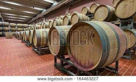 Tekirdag, Turkey - 17 December 2016: Oak barrels stored in a Wineyard