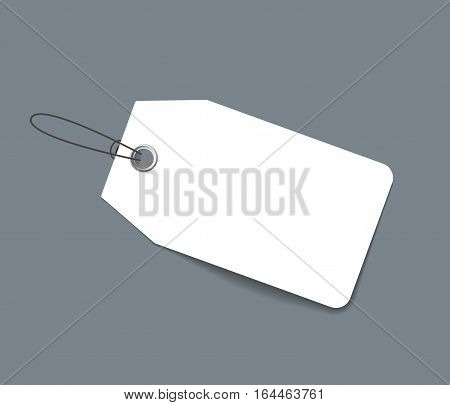 Blank paper price tag or label isolated on dark gray background. Realistic vector template for sale adn promo advertising