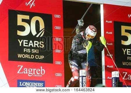 ZAGREB, CROATIA - JANUARY 4th, 2017 : Ski race of overall winners of the FIS World Cup on the ski slope in Bakaceva street, on the road from the cathedral to the main square. Ivica Kostelic at the start.