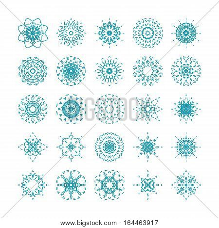 Collection of linear ornamental snowflakes. Vector set