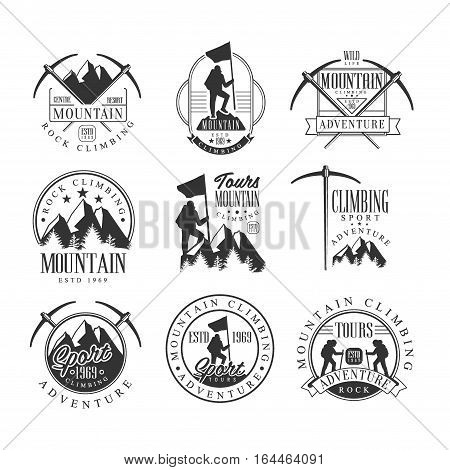Mountain Climbing Extreme Adventure Tour Black And White Sign Design Templates With Text And Tools Silhouettes. Collection Of Monochrome Vector Emblems For Mountaineering And Hiking Club Advertisement.