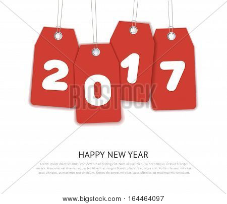 Happy New Year 2017 vector celebration template. Red realistic price labels isolated on white background. Mock up for greeting card and holiday web banner