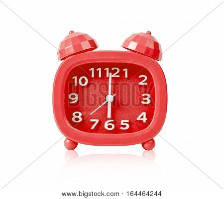 Red alarm clock isolated on white background Saved clipping path.