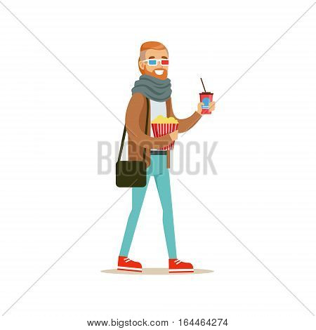 Cinema Goer With Bucket Of Popcorn, Drink And 3D Glasses, Part Of Happy People In Movie Theatre Series. Vector Illustration With Cartoon Characters Indoors At The Movies