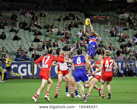 MELBOURNE - SEPTEMBER 12: Josh Hill soars over a pack to mark and goal in the AFL second semi final - Western Bulldogs vs Sydney Swans, September 2008