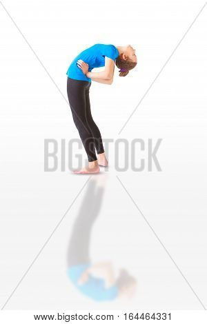 Beautiful Woman Doing Yoga Anuvittasana On White Background