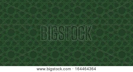 Green mosaic moroccan zellige seamless background. vector illustration