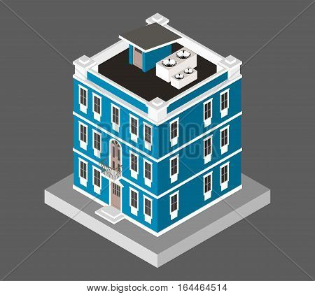 Vector illustration isolated on white background. Isometric icon representing modern house. Urban dwelling Building with a windows and air-conditioning