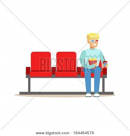 Blond Guy Sitting In Cinema Room Alone With 3D Glasses, Part Of Happy People In Movie Theatre Series. Vector Illustration With Cartoon Characters Indoors At The Movies