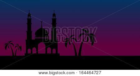 Ramadan greeting card. Black mosque on sunset background. Vector illustration.