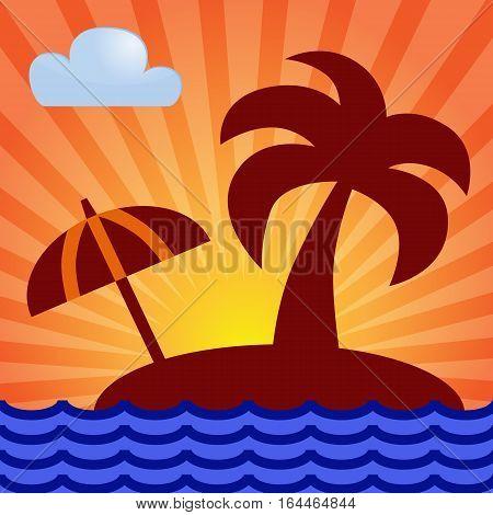 Island palm sunrise. Sunrise or sunset over a tropical island. Vector image.