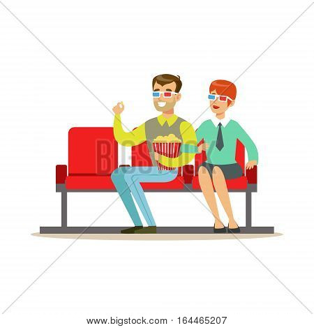 Couple Watching A Movie With Popcorn And 3D Glasses, Part Of Happy People In Movie Theatre Series. Vector Illustration With Cartoon Characters Indoors At The Movies