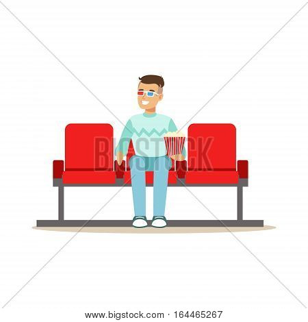 Guy Watching A Movie Alone In Cinema In 3D Glasses, Part Of Happy People In Movie Theatre Series. Vector Illustration With Cartoon Characters Indoors At The Movies