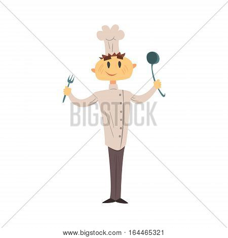 Professional Cook In Classic Double Breasted White Jacket And Toque With Fork And Ladle. Colorful Vector Chef Cartoon Character Cooking In Restaurant Kitchen Illustration.