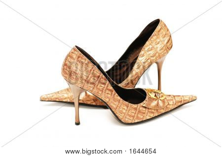 Shiny Woman Shoes Isolated On White Background
