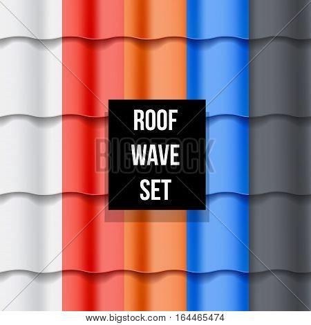 Set of different color Tiled roof seamless patterns. Vector illustration