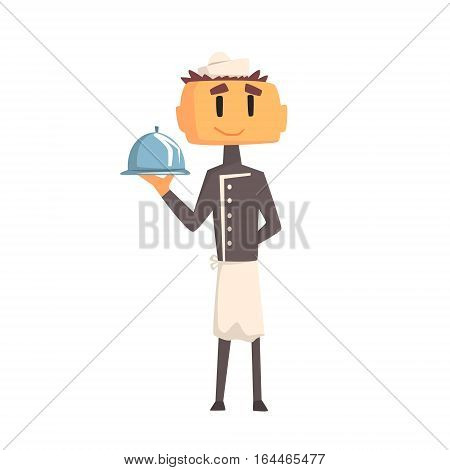 Professional Cook In Classic Double Breasted Grey Jacket And Toque Holding Covered Ready Dish. Colorful Vector Chef Cartoon Character Cooking In Restaurant Kitchen Illustration.