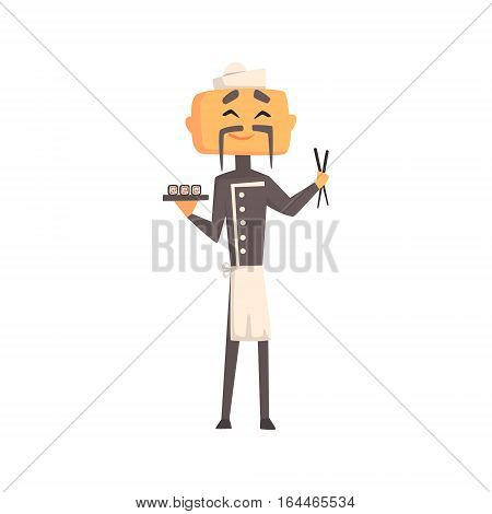 Professional Asian Cook In Classic Double Breasted Grey Jacket And Toque With Plate Of Sushi And Sticks. Colorful Vector Chef Cartoon Character Cooking In Restaurant Kitchen Illustration.